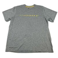 Mens Nike Livestrong Dri Fit S/S Athletic T-Shirt Size Large Gray Spellout