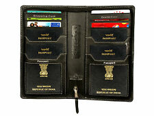 Passport holder for 4 Passport,currency holder,6 plastic card & pen holder,zippe