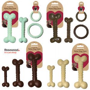 Rosewood Tough Toys Nylon Dog Chew Enrichment Bone Ring Mint Chocolate Chicken
