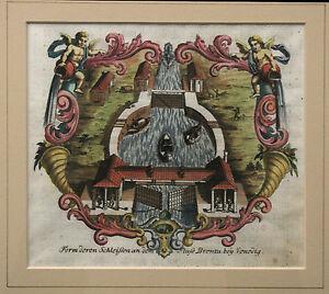 Johann VOLKAMER Antique ENGRAVING, River Brenta, Hesperidum Nurnberg 1714 RARE!