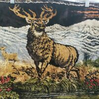 "Stag Wall Tapestry Deer Doe Buck Cabin Decor Man Cave Hunting Vintage 37""x19"""
