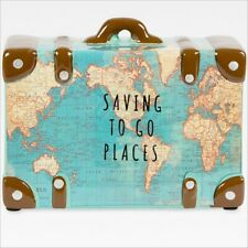 Sass & Belle 'Saving to Go Places' Suitcase Atlas Map Money Box Gift Piggy Bank