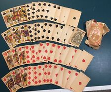 Antique Playing Cards No Indices 1880 1890 Old West Post Civil War Full Deck Red