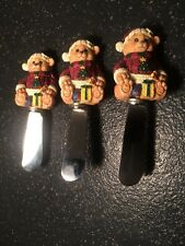 3 Christmas Cheese Knives Serving Utensil Teddy Bear Santa resin multi-color