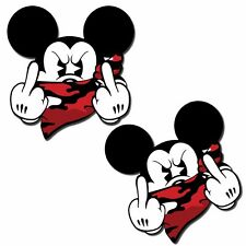 2 VINYL STICKERS MICKEY MOUSE GONE BAD MIDDLE FINGER AUTO MOTO CAR TUNING B 156