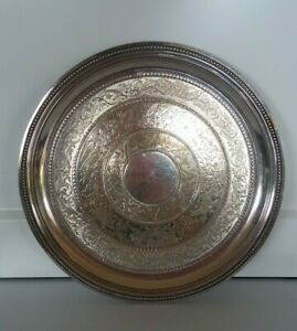 """Christofle, France, Antique C1867 Embossed Silverplate Round 8"""" or 20cm Tray VGC"""