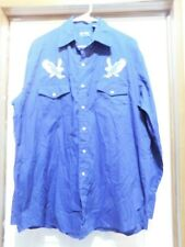 BLAIR Fine Menswear Dk Blue Pearl Snap Eagle Embellished Pockets LS SHIRT Large