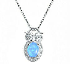 Fashion Woman 925 Silver OWL Blue Fire Opal Charm Pendant Necklace Chain