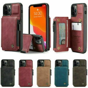 Leather Zipper Wallet Card Holder Flip Stand Cover Case for Apple Samsung Phones