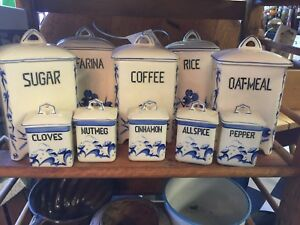 Vintage Blue & White Ceramic Kitchen Cannisters & Spice Jars ~Csechoslovakia