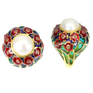 Natural Round White Pearl 11 Mm Ruby 925 Sterling Silver Enamel Flower Ring Sz 7