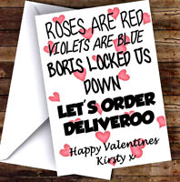 NEW PERSONALISED NOVELTY DELIVEROO VALENTINES DAY CARD ADD ANY NAME & TEXT!