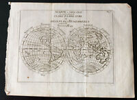 1749 - World Map Globe Terrestrial per Buffier - Card World Cup - Antique Map