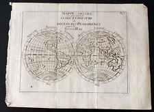 1749 - Mapa del mundo globo terrestre por Buffier - Mapa del mundo - antigua map