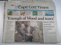 CAPE COD TIMES MA NEWSPAPER Sept. 14 1993 MIDEAST REACTS WITH JOY, ANGER Israel