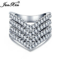 Junxin Rose, White Gold CZ Stone Paved Engagement Promise Ring For Women Sz 6-10
