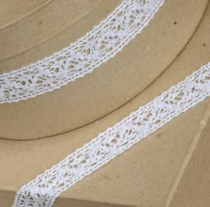 WHITE COTTON LACE RIBBON 25mm x 10 METERS FULL REEL CRAFTS CAKE DRESSMAKING