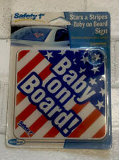 Vtg Baby on Board Window Safety 1st Sign Suction Cup Car Usa Flag Red White Blue