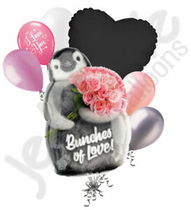 7 pc Bunches of Love Penguin Happy Valentines Day Balloon Bouquet Kiss Be Mine