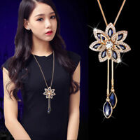 Crystal Charm Snowflake Tassel Pendant Long Chain Sweater Necklace For Women LE