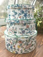 "Decorative Nesting Stacking Hat Boxes: 16"",14"",12""; Set Of 3"