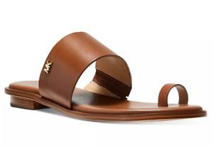 L@@K! Size 8.5 Luggage Michael Kors August Flat Sandals Leather Women's Open Toe