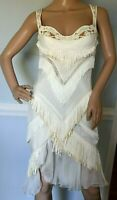 Gianni Versace Leather Embroidered Fringe Corset Bustier Dress US 2 4 / IT 40