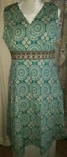 Cute Croft & Barrow Stretch Teal Green Spiral Design Dress ~Sz 16~ Side Zipper