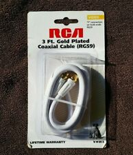 Rca 3 ft Feet White Rg59 Digital Hd Coax Coaxial Satellite Tv Cable Wire gold F