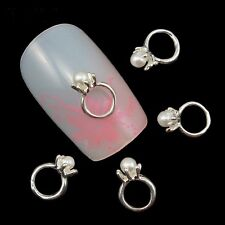 6 x 3D Silver Alloy & Faux Pearl Nail Art Ring Decorations FREE P&P (B3)