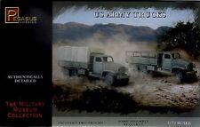 Pegasus 1/72 WWII U.S. Army Truck Model Kit 2 Trucks Snap Together NEW 7651