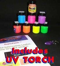 8 colours x 30ml Acrylic Rave Neon UV blacklight glow Paint with Torch