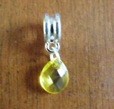 pendentif argenté goutte jaune 10x9 mm