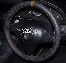 Se adapta a Mercedes Vaneo Negro Cuero Perforado Volante Cubierta + Correa Marrón