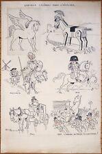 Dessin original de Hervé BAILLE daté 1932 Chevaux Napoléon Don Quichotte