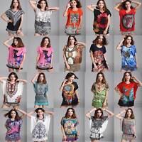 Women Kaftan Tunic T-shirt Blouse Top Shirt Mini Dress Plus Size Bohemia 8-18 16