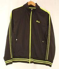 Fila Mens Black Neon Lime Green Stripe Full Zip Track Top M NWOT
