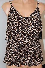 NWT Magic Suit Swimsuit Tankini Top sz 12 Ruffles Brown