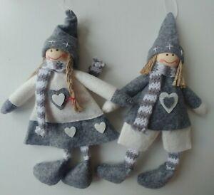 2 x WINTER GIRL Scandinavian felt Christmas tree decoration NEW grey & white