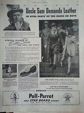 1941 Poll Parrot Uncle Same Easter Shoes Children Original Print Ad