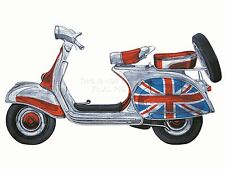 Stampa pittura disegno marchi VESPA SCOOTER MOD Union Flag Jack nofl0064