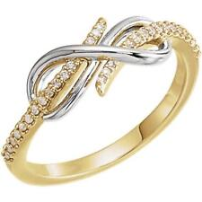 14K Yellow and White Gold Diamond Infinity Style Ring Size 7