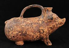 ancient BC, antique terracotta Pig Wild Boar Sicilian rhyton vessel, spouted jar