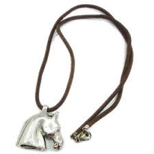 HERMES BIJOUTERIE FANTAISIE Horse Motif Pendant Necklace Silver Brown 81170