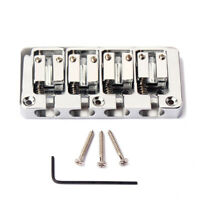 4 String Bridge For Bass Guitar L Shape Saddle Parts String Spacing Chrome bass