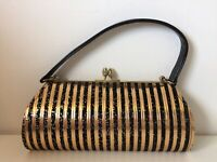 Vintage 70s 80s Disco Glitter Clutch Bag Handbag Black Gold Stripe