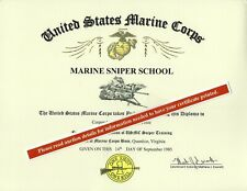 Marine Corps Sniper Course School Deploma Replacement Certificate