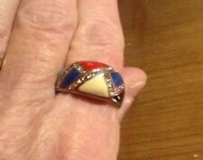 NICE Vintage Copper Enamel Ring Unusual Design Assorted Enamel Colors Size 7.5