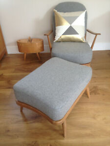 NEW CUSHIONS for an ERCOL CHAIR & FOOTSTOOL in WOOL or LINEN MIX FABRIC OPTIONS