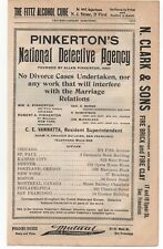 "1900 Advertisement Pinkerton's National Detective Agency "" No Divorce Cases """